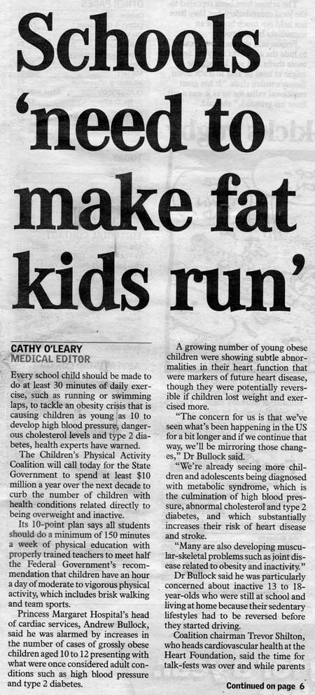fat children in western australia